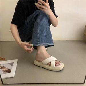 Terlik Med Topuk Katı Renkler Çapraz Bağlı Platform Tıknaz Sandalet Kadınlar 2021 Yaz Plaj Tasarımcısı Slaytlar Ayakkabı