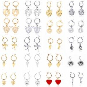 GEOMEE 1 Pair Trendy Simple Heart Leaves Animals Hoop Earrings For Women Cute Hollow Geometric Leopard Round Earrings Jewelry N7i7#