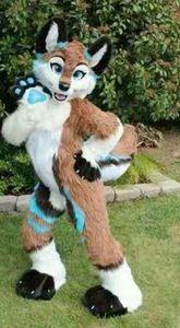 هالوين طويل الفراء أجش الكلب فوكس fursuit التميمة حلي suit33