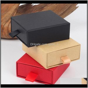 Gift Wrap Luxury Elegant 873Cm Spong For Jewelery Display Earring Necklace Packaging Der Box With Ribbon 7Itdn Reqip