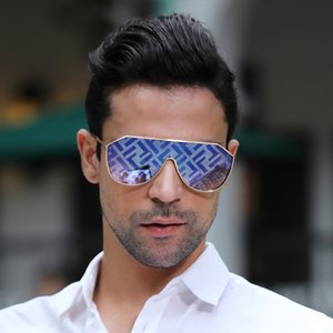 Kadınlar için Erkek Güneş Gözlüğü Avrupa ve Amerikan Moda Tek Parça Lens MS Gözlük