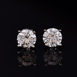 Natural Moissanite Stud Earrings For Women Men 4 Prong Setting Pure Silver Round D Color VVS Platinum Plated