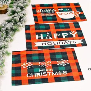 Christmas Plaid Placemats Red and Black Check Mats Tree Snowflake Place Mat for Winter Holiday Party Dinner Table Decoration HWF10375