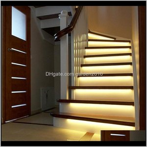 Deco El suministros Home Garden Drop Entrega 2021 2m 1m LED Escalera inteligente debajo de la cama Light PIR Sensor Detector Control Lámpara de pared inteligente Cupbo