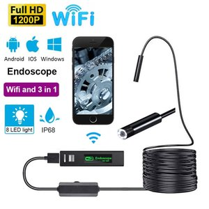 Mini WiFi Camera Endoscope Lenses Filters HD 1200P Waterproof Phone Picture Video For Industrial Car Repair Air Conditioner Sewer Small Space Underwater Detection