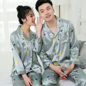 sleepwear Solid Color Silk Satin Pajamas Couple Long Button-Down Pyjamas Suit Pijama Women Men Loungewear Plus Size Pj Set