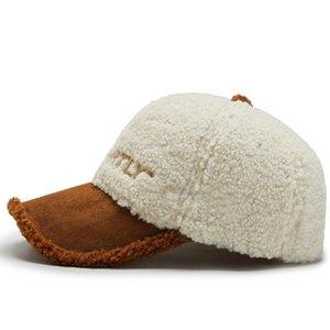 2021 FS Kahverengi Beyaz Lambswool Kış Şapkalar Kadın Erkek Yün Teddy Beyzbol Şapkası Sıcak Streetwear Snapback Trucker Caps Gorras Hombre