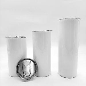Süblimasyon Düz Tumblers Boşlukları 12 15 20 oz Paslanmaz Çelik Araba Bardaklar Tumbler Seyahat Kupalar Yalıtımlı Su Şişesi YFAB2301