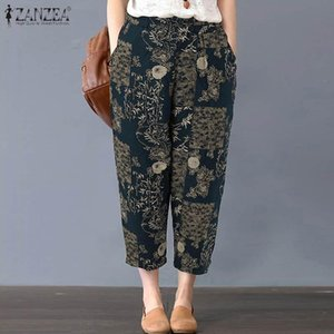 Women's Pants & Capris 2021 Summer Floral Printed Turnip ZANZEA Vintage Cotton Linen Trousers Women Casual Elastic Waist Straight Pantalon F
