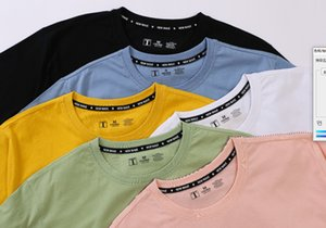 2021 Solid Color T-shirt Short Cotton Loose Couple Summer Men's Half Sleeve T-shirt