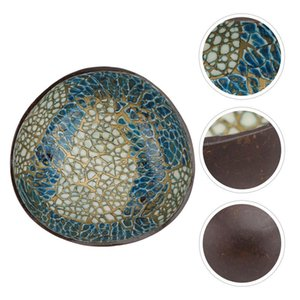 Bowls 1Pc Coconut Shell Bowl Storage Key Container Home Decor (Blue, Yellow)