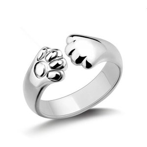 S925 Sterling Silver Korean fashion creative cat claw temperament sweet lovely footprints Ring female