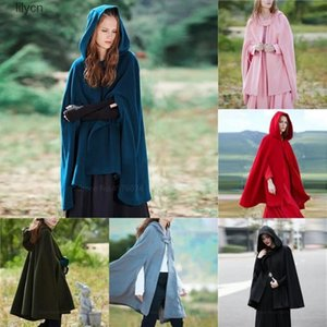 Medieval Cosplay Costumes for Women Vintage Short Cloak Adult Witch Loose Plus Size Hooded Jacket Solid Color Renaissance