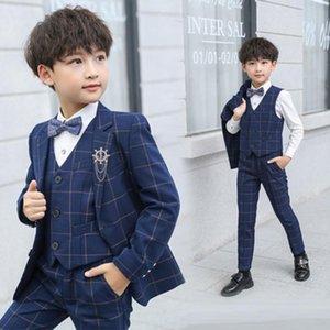 Spring Autumn Plaid Blazer Tuxedos Boy Suits Tailor-Made For Wedding Formal Children Kids Festive Check Jacket+Vest+Pants Est Men's & Blazer