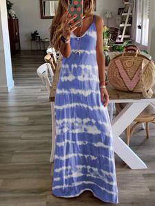 Women Summer Maxi Dress Floor Length Print Sling Boho Dresses Plus Size S-5XL Female Sun Beach Robe Femme Casual