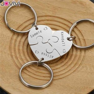 Jovivi New Personalized Custom Initial Name Heart Puzzle Keychain Stainless Steel Family Best Friends BFF Jigsaw Pieces Key Ring 210409