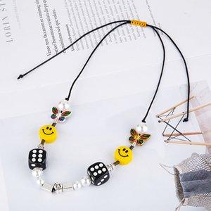 2021 дизайнерская мода хип-хоп ожерелье с одинаковым типом национального прилива кости черепа бабочка жемчужина улыбка лица ожерелье