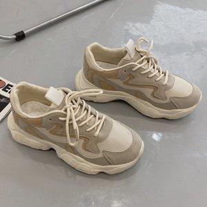 Летние женщины коренастые кроссовки дышащая сетка повседневная джокер теннис тапки платформа спортивная обувная ночь свечение модных женских туфлей новая