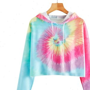 Fashion Tie dye Hoodies Womens Women Girls Casual Long Sleeve Short Hooded Harajuku Top Blouse Hoody Sudaderas