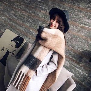 Mingjiebihuo Moda coreana Larga bufanda chal Femenino otoño e invierno color mezclado salvaje cálido grueso con flecos