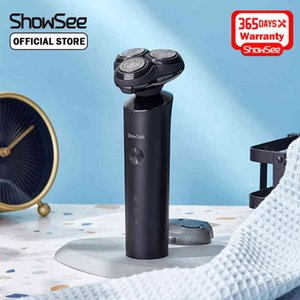 ShowSee Shaver Electric Razor Beard Trimmer para Hombres Dry Wet Beard Trimmer Portable Recargable Lavable Máquina de afeitar 210326