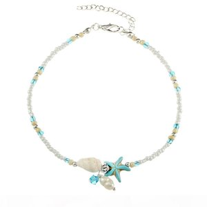 Conch Starfish Pearl Bead Chain Anklets Bracelets Beach Foot Chain Fashion Jewelry for Women Drop Ship