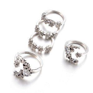 Nuevos conjuntos de anillos de estilo boho para mujeres de boda de boda Zircon Crystal Anillos de dedo Regalos de fiesta Plata Vintage 5pcs Anillo Joyería Juego 335 J2