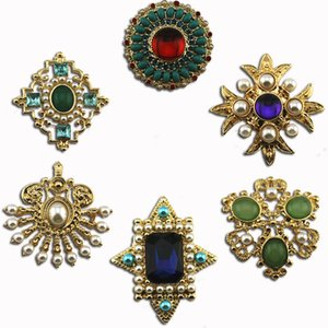 Antique palace VINTAGE BROOCH pearl resin glass six style fan shaped Brooch 925 silver pin Earrings