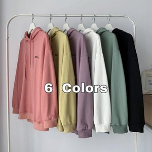 Oversize Solid Color Women Hoodie Cotton Autumn Thin Sweatshirts For Girls 2021 Bat Sleeve Letter Casual Pullovers Women's Hoodies &
