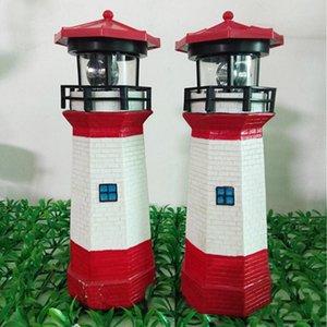Solar Powered Lighthouse Waterproof Statue Rotating Garden Yard Outdoor Lighting Decor _WK Portable Lanterns