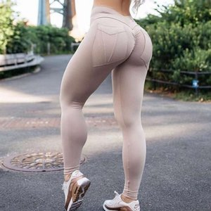 6k6kWomen Fitness Gimnasio Alto Push Up Femenino Entrenamiento Leggings Feminina Sólido Pocket Legging Mujer 7Color