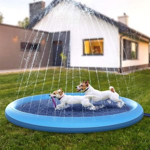 Pet Sprinkler Pad Play Cooling Swimming Pool Outdoor Inflatable Water Spray Mat Tub Fountain For Dog Kids Kennels & Pens