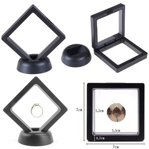 Fashion 3D Floating Display Case Jewelry Presentation Frame Stands Storage Box Holder Clear membrance showing boxes for Medallio Challenge Coin Chip Specimen