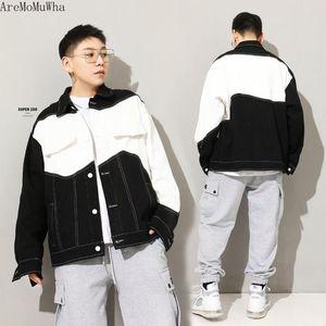 Джинсовая куртка Мужская пружинная инструментальная инструментальная марки шить цвет свободных повседневных хип-хоп отвохает мужская одежда бомбардировщик куртки