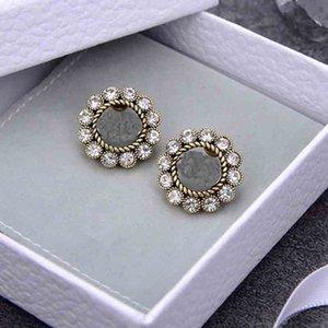 Charm Letter Stud Asymmetric Earring Pearl Earclip designer Jewelry