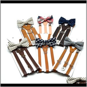 Belts Kids Plaid Suspenders Set 6 Colors Baby Boys Girls Braces Elastic Ysuspenders With Bow Tie Fashion Lattice Belt For Children Qbs 1U0Ik