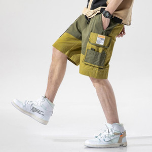 Streetwear Khaki Sweatshorts 여름 남성 컬러 블록 벨트 한국어 패션 조깅 쇼트 3XL화물
