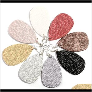 Charm Unique Design Pu Leather Oval Earrings Fashion Statement Colorful Teardrop Earring Jewelry Gifts For Women Girls Wzct9 S0Faq