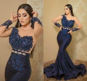 Aso Ebi 2021 Arabic Navy Blue Mermaid Evening Dresses Lace Beaded Prom Sheer Neck Formal Party Second Reception Gowns