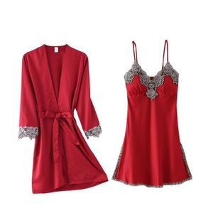 Womens Sleepwears Arrival Sexy Lace Satin Robe Gown Hooded Sets Free Female Fashion Nightwear Set Pyjamas
