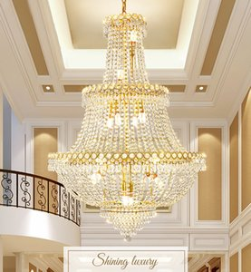American Golden Crystal Chandelier LED Modern Chrome Chandeliers Lights Fixture Home Indoor Lighting 3 Circles Shining Luxury Hanging Lamp High quality