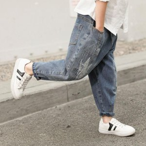 Trousers 2021 Kids Jeans Teenage Boys Autumn Long Pant Fashion Hole Denim Child Casual For Clothing 3-12 Years J109