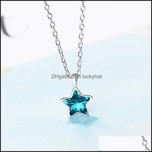 Collane pendenti jewelrygedesign moda eternity bague-blue stella ciondolo collana cerchianziario con pendente a stella sier colore cz cristallo austriaco grande promozioni trend