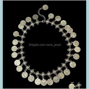 Sets Flower Child Sier Coin Anklet Jewelry Set Adjustable Handmade Floral Design Boho Gypsy Beachy Ethnic Necklace Bracelet Drop Deliv