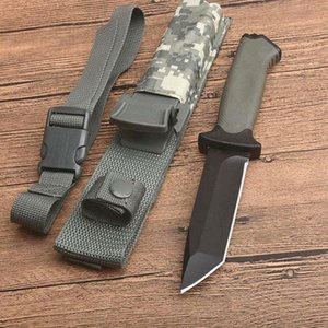 High Quality Outdoor Survival Straight Knife 12C27 Tanto Point Black Blade Full Tang FRN Handle Camping Hiking Rescue Knives With Kydex