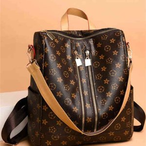Vintage retro PU leather backpack handbag tote shoulder bags multi function large capacity fashion purses travel sport storage bags pack G96X4K1