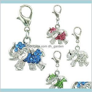 Wholesale Fashion With Lobster Clasp Dangle Rhinestone Elephants Animals Pendants Diy For Jewelry Making Accessories 12Zm6 Lix0D