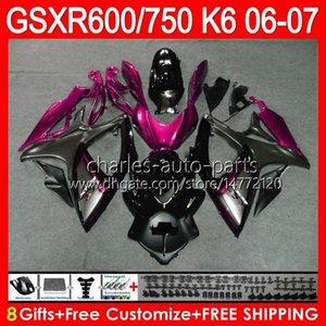 Body For SUZUKI GSX-R750 GSXR600 GSXR750 06 07 Bodywork 10HM88 GSX R600 R750 K6 GSX-R600 GSXR 600 750 2006 2007 Pink Black Fairing