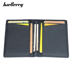 Baellerry Brand 100% Cow Genuine Leather Small Card Wallet Men Solid Casual ID Case Purse Male Holder Holders