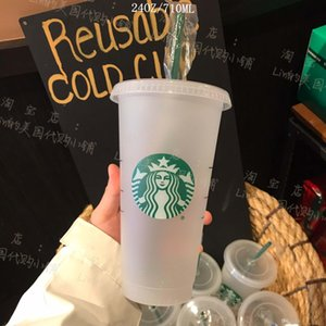 Starbucks 24OZ 710ml Plastic mugs Tumbler Lid Reusable Clear Drinking Flat Bottom Pillar Shape Straw Bardian Color changing Flash cup 50pcs DHL Free